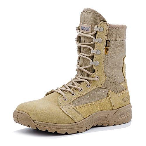 Botas tácticas Militares de Hombre Ultraligero, Tan Botas Jungle Combat, Zapatos de Trabajo y Seguridad (45 EU, Beige)