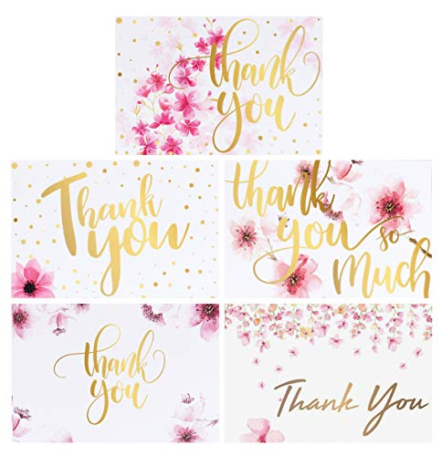 100 Bulk Thank You Cards with Envelopes, Floral Flower Blank Thank You Notes, Greeting Cards for Wedding, Baby Shower, Bridal Shower, Bridal Shower, Anniversary,5 Design 4x6 Inch.