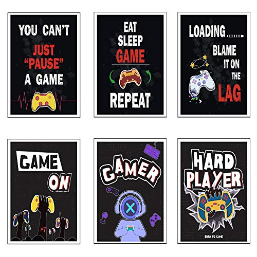MWOOT 6er Set Jugendzimmer Leinwand Bilder, Gaming Zimmer Poster mit Sprüchen, 20x25CM Bilderwand Bilder, Spielsalons Wanddeko Druckbilder, Videospielliebhaber Spieler Wandbild, Unframed Gamer Poster