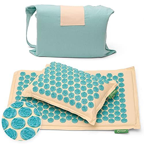 Akupressurmatte-Set mit Kissen + Tasche, Massage-Matte zur wohltuenden Entspannung und Stimulation, Akupunktur-Matte zur Schmerzlinderung