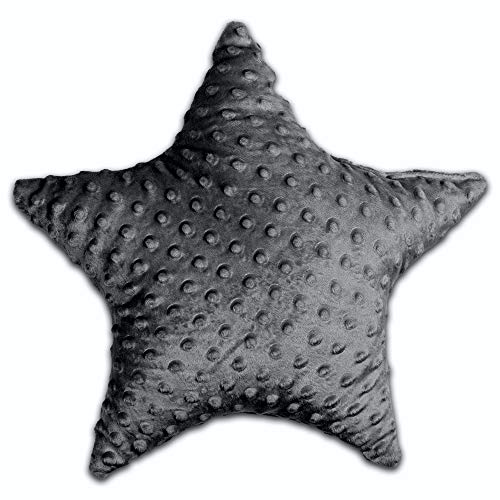 Dekokissen kinderzimmer Kissen Stern - Plüschkissen für Kinder zierkissen, Mädchen und Junge (Grau Minky, 40 cm)