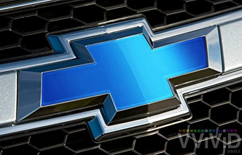 """VVIVID Blue Matte Metallic Auto Emblem Vinyl Wrap Overlay Cut-Your-Own Decal for Chevy Bowtie Grill, Rear Logo DIY Easy to Install 11.80"""" x 4"""" Sheets (x2)"""