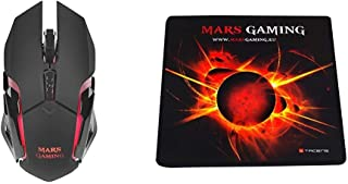 Mars Gaming MMW, Ratón para Pc Inalámbrico 3200Dpi, RGB Flow, Wireless, USB, LED Óptico + MMP0 - Alfombrilla de ratón Gami...