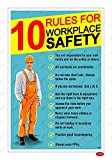LEPPO Ten Rules For Workplace Safety Essential Warning Sign Self Adhesive Laminated Poster Use For Industrial Site, Factory, Manufacturing Plant & Many More Places (12X18 inch) (2 Pc Qty, Turq)
