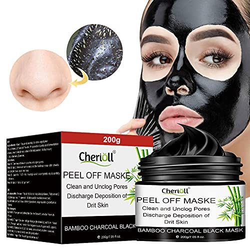 Blackhead Remover Mask, Peel Off Mask, Charcoal Face Masks, Face Mask with Activated Carbon Purifying Black Face Mask, Deep Skin Clean Purifying Acne,Deep Cleaning Mask-200g