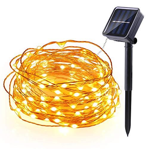 Qedertek Solar Lichterkette Aussen, 12M 100 LED Kupferdraht Weihnachtsbaum Lichterkette, 8 Modi Wasserdicht Solarlichterkette, Weihnachtsbeleuchtung außen, für Hochzeit, Garten (Warmweiß)