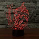 Lámpara de noche de regalo para niños Luz 3D 7 colores que cambian con el toque 3D Visual Fish listo para atrapar USB 7 Cambio de color Lámpara de noche Lámpara de noche LED Decoración de regalo