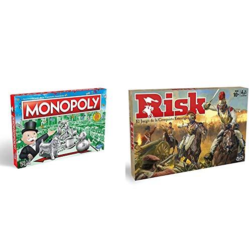 Monopoly C1009118 - Edición Cataluña, Calles de Barcelona + Hasbro Gaming Juego de Mesa Risk, Hasbro B7404105