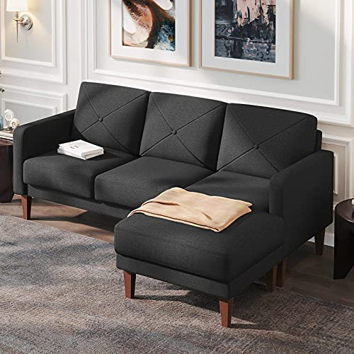 Belffin Corner Sofa 3 Seater Sectional Sofa with Chaise Lounge L Shaped Sofa Couch Dark Grey