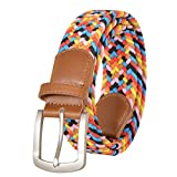 Braided Elastic Belt, No Holes Leather Inlay Multi-Color Options unisex- Stretch Belt Metal Buckle (L(Length:115cm /45.3 in'), Candy colors-ywhchi-03)