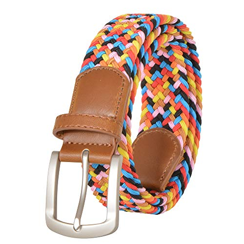 Womens & Mens Multi Color Braided Stretch Belt No Holes Leather Inlay Woven Elastic Golf Belts (L(Length:115cm /45.3 in'), Candy colors-ywhchi-03)