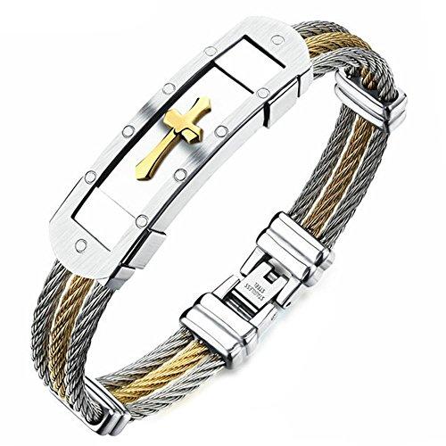 Onefeart Edelstahl Rock Stil Wire Design Kreuzform Mode Armreif für Herren 18.5CM Silber Gold
