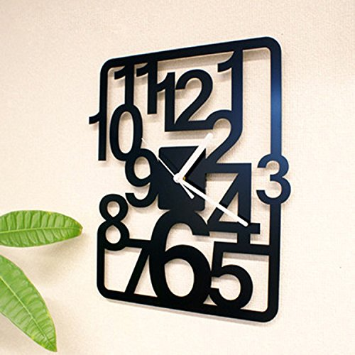 horloge murale CivilWeaEU- Personnalité Simple Mode Créative Salle de Séjour Chambre à Coucher Suspendu Table Creuse Moderne numérique Art horloges et Montres