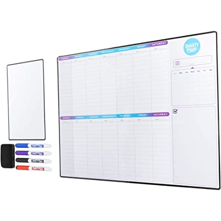 Smartyplans Dry Erase Weekly Extra Thick Magnetic Calendar For Refrigerator 17x13 Two Week Planner And 6x9 White Board 4 Fine Tip Markers And Eraser With Magnets Stain Resistant Shipped Flat