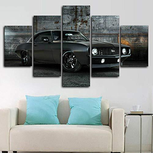 runtooer Bilder Dekorative Malerei Spray Malerei Leinwand Malerei 5 Stück Modern Chevrolet Camaro Ss 1969 Muskel Auto Leinwand Wandbild, Möbel Art Deco, Rahmen