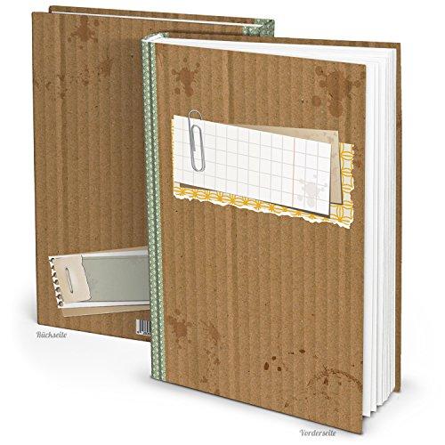 Logbuch-Verlag XXL Notizbuch A4 leere weiße Seiten Buch ohne alles leer Tagebuch Skizzenbuch Blankobuch groß vintage grün braun Rezeptbuch eigenes Kochbuch schreiben