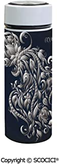 SCOCICI Vacuum Insulated Stainless Steel Water Bottle Flask Swirling Victorian Royal Symbol Flowers for Aquarius Icon Retro Art Image