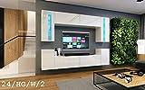 HomeDirectLTD Moderno Conjunto de Muebles de salón Concept 24, Muebles para Sala de Estar, Modernos Muebles modulares con Iluminación LED Opcional (24_HG_W_2, LED Azul)