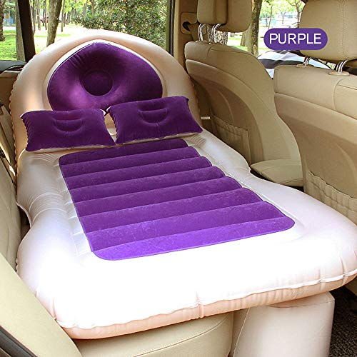 TERMALY Materasso Gonfiabile per Auto, Panca per Seggiolino Auto Gonfiabile, Materassino Gonfiabile più Spesso Mat Materasso per Auto per Campeggio da Viaggio All'Aperto,Purple