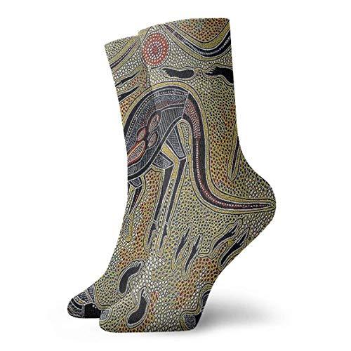 Calcetines con estampado de arte vintage aborigen australiano Calcetines cortos deportivos clsicos de ocio adecuados para hombres, mujeres, calcetines deportivos, cmodos, transpirables, casuales, 30