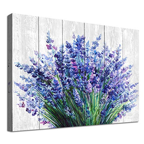 Lavender Wall Art Bathroom Decor Blue Flowers Canvas Picture Watercolor Painting Prints Bedroom Wall Decor Modern Blossom Canvas Art for Home Decoration 12' x 16'