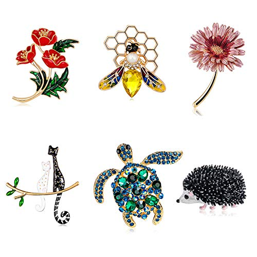 KISSBELLY Brooch Vintage Animal Plants Pin with Crystal for Clothes Decoration Ladies Gifts Jewellery