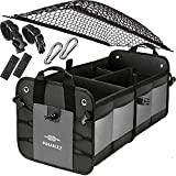 Trunk Organizer with Covering Net, Attachable Non-Slip Pads, and Stainless Hooks, Two Shades of Gray