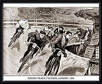 ポスター アーティスト不明 Women Track Cyclists 1898 額装品 ウッドハイグレードフレーム(ブラック)