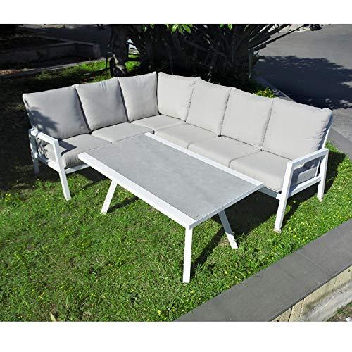 Scaramuzza Modo Set Salotto da Giardino Divano ad Angolo in Alluminio con Tavolo Top in Vetro Temperato Cuscini Inclusi Colore Bianco 250x195 cm Modello Texas