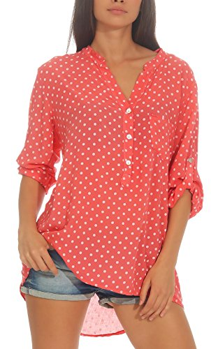 Malito Damen Bluse mit Punkten | Tunika mit ¾ Armen | Blusenshirt auch Langarm tragbar | Elegant - Shirt 3419 (Coral)