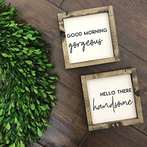 Tamengi Good Morning Gorgeous Sign Hello There Handsome Sign Nursery Sign Kids Bedroom Sign Master Bedroom Sign Nightstand Decor