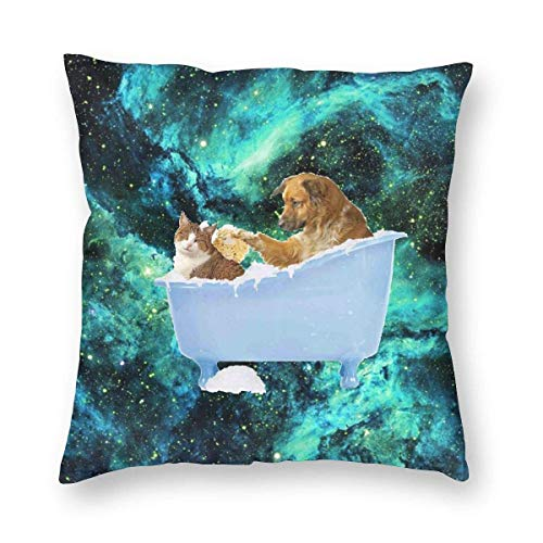 "Fcdraon Dog Kitty cat in Bathtub Bubbles Galaxy Square Home Decor Square Throw Pillowcase Pillow Protector Best Pillow Cover for Office 16""x16"""