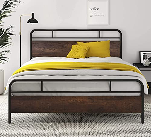 SHA CERLIN Heavy Duty Queen Bed Frames with Modern Wood Headboard, Metal Platform Bed with Frosted Iron Frame, 12' Under Bed Storage, Noise Free, No Box Spring Needed, Dark Brown