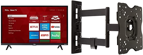TCL 32S327 32-Inch 1080p Roku Smart LED TV (2018 Model) & AmazonBasics Heavy-Duty, Full Motion Articulating TV Wall Mount for 22-inch to 55-inch LED, LCD, Flat Screen TVs