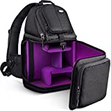 Qipi Camera Bag - Sling Bag Style Camera Case Backpack with Modular Inserts & Waterproof Rain Cover - for DSLR...