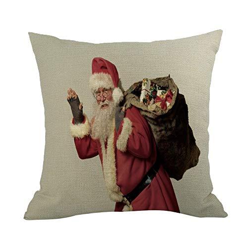 Reooly Merry Christmas Pillow Case - Juego de Cojines de sofá de Lino, decoración para el hogar, Almohada, 45 x 45 cm