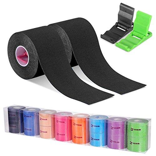 Cinta Kinesiología, cinta de soporte, rollo de 5m x 5cm, elástico e impermeable para el cuello, la espalda, los muslos, los tobillos y las rodillas. Mini soporte para móvil de regalo