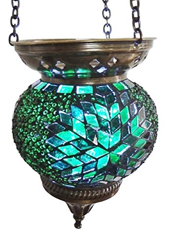 Moroccan Turkish Mosaic Hanging Lamp Hanging Candle Holder Hanging Candle Holder Table Desk Lamp Lamps Bronze Effect Handmade Unique Crushed Glass Tiffany Style Turkish Moroccan Lamp Green Flower
