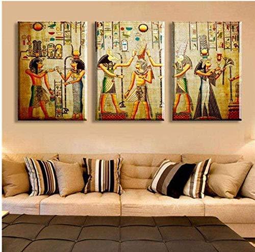 Poster 3Pcs Cuadro abstracto Egipcio Mural Room Escape Pintura decorativa moderna Un gran arte Wall Art Print 50X70Cm