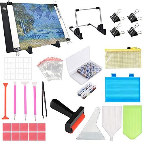 A4 LED Light Pad para kit de pintura de diamante, kit caja luz alimentado por USB, accesorios pintura de diamante 5D y herramienta con soporte desmontable rodillo para suministros arte diamante