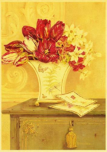 H/H Hermosa Flor Roja Arte Retro Cartel HD DIY Lienzo Mural Artista Dormitorio Familiar Pintura Al Óleo Pintura Decorativa Sin Marco 50X70 Cm 9978L