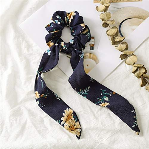 Ihairband Bandeaux Fille, Totem Bleu Foncé Noué Long Tassel Banderolles Tissu Floral, Bande Bowknot Cheveux Tête Soft Stretch Wrap Corde Bandeau Acces