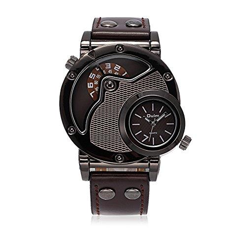 iWatch Herren Armbanduhr Japanisches Quarz Analog Dual-Bewegung Doppel Zeitzonen Mesh Business Uhr mit Kaffee Zifferblatt und Leder Armband