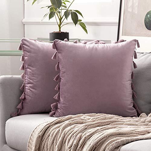 MIULEE 2er Set Samt Kissenbezug Quaste Kissenhülle Dekorative Tassel Dekokissen mit Verstecktem Reißverschluss Sofa Schlafzimmer 18 x 18 Inch 45 x 45 cm Pink Lila