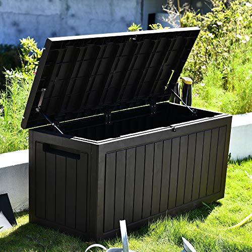 SKYLANTERN Coffre de Jardin 285L - Coffre de Stockage Marron Jardin - Coffre de Rangement extérieur avec poignées Effet Bois