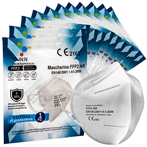 Eurocali 20 Mascherine Protettive FFP2 Certificate CE Mascherina 5 Strati Sigillate Singolarmente Filtraggio BFE ≥95% Senza Valvola
