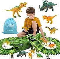 Zwini Dinosaurus speelgoed Set van 153 stuks Dinosaurus Track speelgoedauto voor kinderen Flexibele autoracebanen met 8...