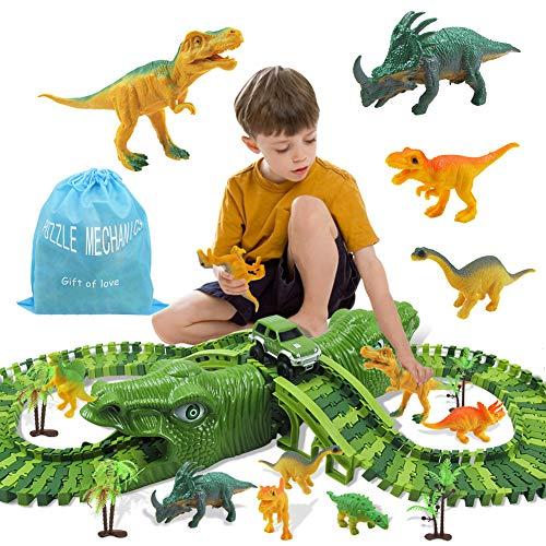Zwini Dinosauro Pista Flessibile Giocattoli Kit 153 Piste Blocchi Traccia Pista Macchinine Elettriche Cars Dinosauro Jurassic World per Bambini Regalo Ragazza Ragazzo