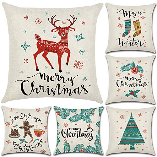 wtisan Christmas Pillow Covers 18 x 18 Inches Set of 6,Holiday Pillow Covers,Christmas Decorations for Home