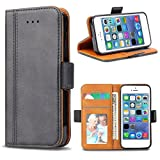 Bozon iPhone 5S Hülle, iPhone SE Hülle, iPhone 5 Hülle, Leder Tasche Handyhülle Flip Wallet Schutzhülle für iPhone 5/ SE/ 5S mit Ständer & Kartenfächer/Magnetic Closure (Dunkel-Grau)